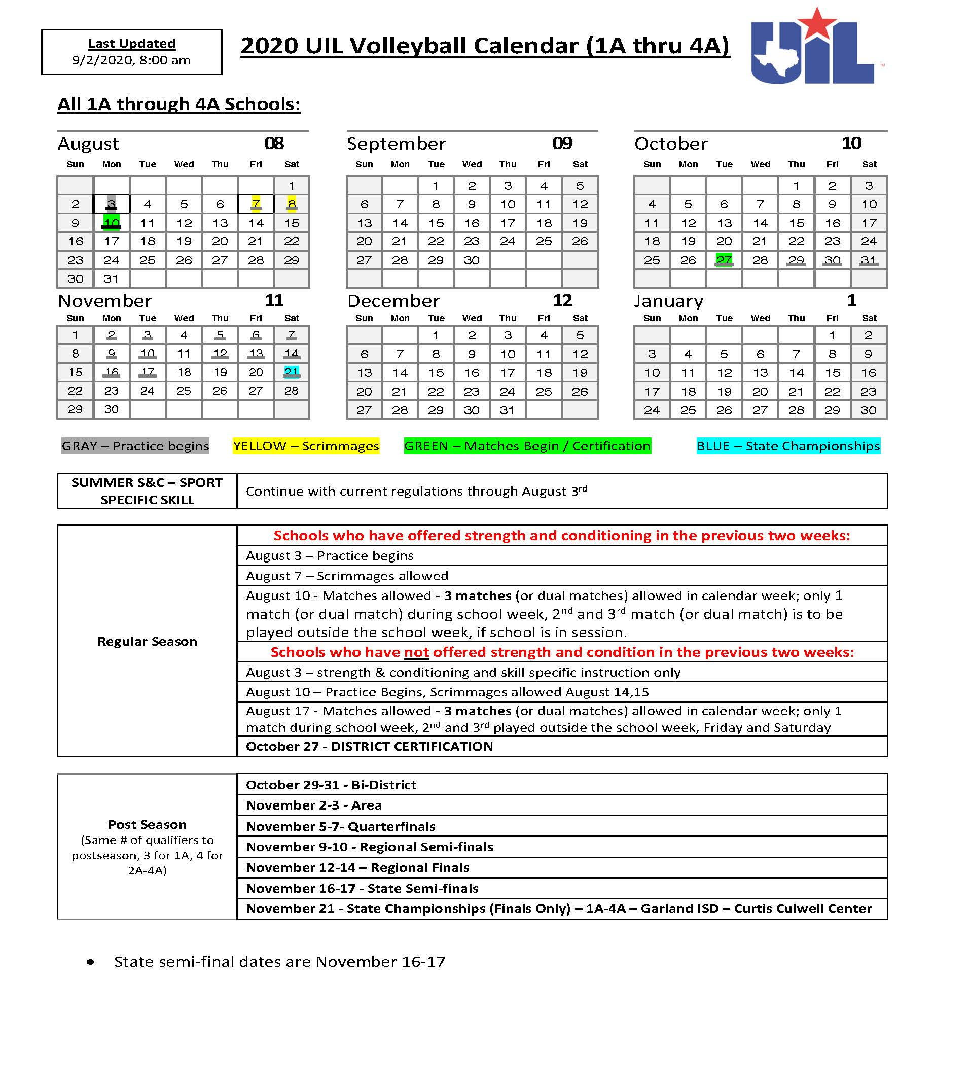 2020 21 Volleyball Covid Calendar And Update University Interscholastic League Uil