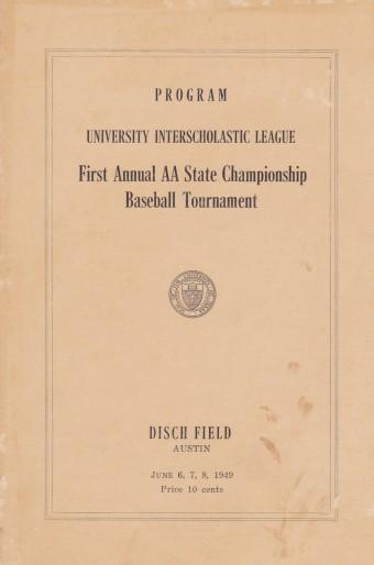 1949 State Baseball Championship program
