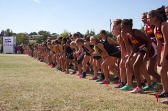 The starting line at the State Meet