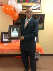 Assistant Athletic Director Darryl Beasley accepted his award in his hometown Beeville.