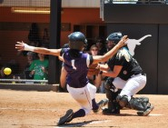 During the bottom of the ninth inning of the 4A semifinal game, an Angleton player attempts to score on a squeeze play against Azle High School.